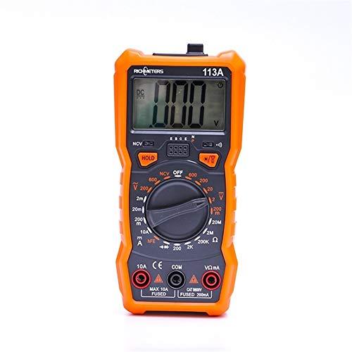 JCMY Multímetro Digital Multímetro RM113A NCV multímetro Digital 2000 Cuentas de Voltaje AC DC/medición medidor portátil Metro del Voltaje del multímetro Medición de Voltaje, Corriente y Resistencia.