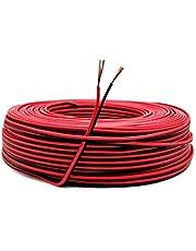 22AWG Elektrische draad, 0,33 mm2 vertind koperdraad, 2-aderige PVC-kabel voor LED-stripstekker/DIY 60 meter (30 meter zwart + 30 meter rood)