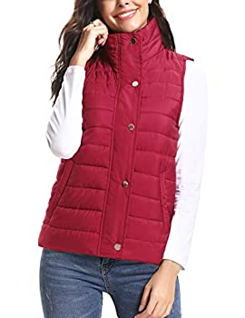 iClosam Women s Winter Puffer Vest Lightweight Packable Vest Quilted Jacket Outerwear Vests Red