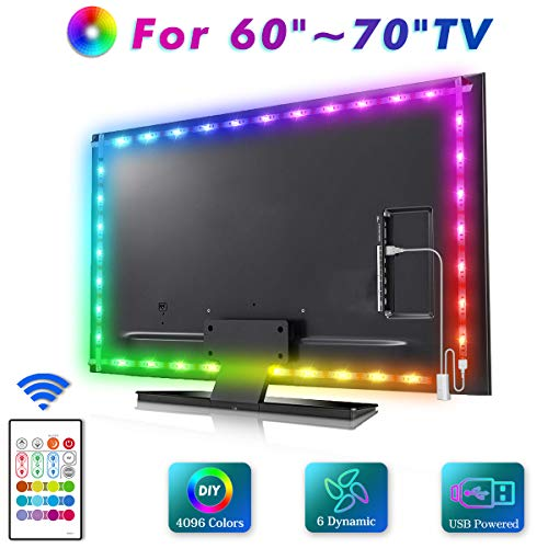LED TV Backlight, MYPLUS 13ft Strip Lights with Remote Control and USB Powered, DIY Color Changing Bias Lighting with Scenes Mode and Dimmable Lighting for HDTV (60-70 Inch)