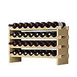 DlandHome 4 Ebenen für 32 Flaschen Weinständer Wein Weinregal Flaschenregal Holz für Bar, Küche, 90x30x54cm