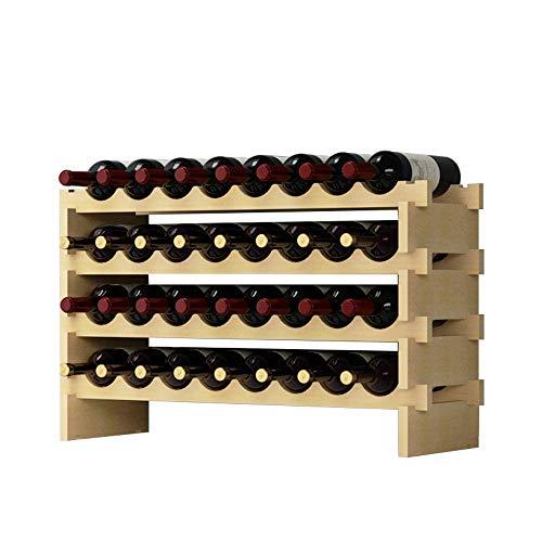 DlandHome 4 Ripiani 32 Bottiglie Cantinetta Portabottiglie Vino In Legno Scaffale Porta Bottiglie 90 X 54 X 30 Cm
