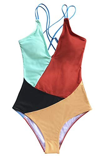 CUPSHE Women's Colorblocked Strappy V Neck One Piece Swimsuit, XXL