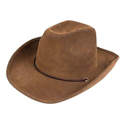 Boland 04351 – Sombrero Utah para adultos, piel sintética, color marrón oscuro, sombrero de vaquero, cowboy, Ranger, chaleco salvaje, gorro de cabeza, accesorios, fiesta temática, carnaval