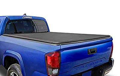 Tyger Auto T1 Soft Roll Up Truck Bed Tonneau Cover for 2005-2015 Toyota Tacoma Fleetside 6' Bed TG-BC1T9037, Black