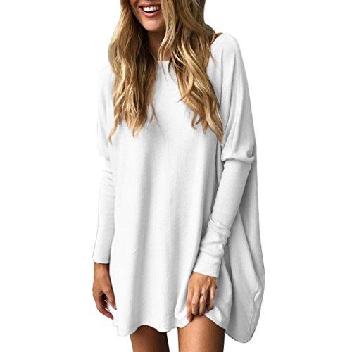 ESAILQ Damen 2018 Neue Damen Rundhals Falten T-Shirt Ärmellos Stretch Tunika Top(S,Weiß)