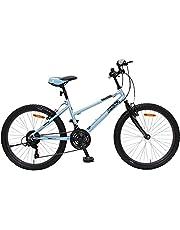 Amigo Power Mountainbike voor meisjes, 26 inch, Shimano 18 versnellingen, geschikt vanaf 150 cm, met handrem en fietsstandaard, blauw