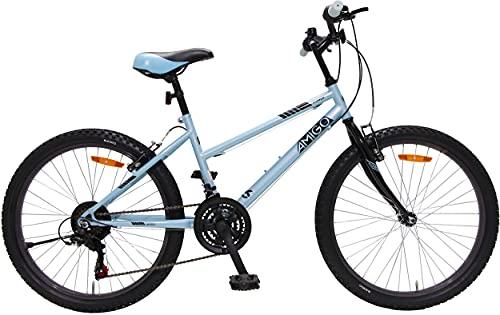 Amigo Power - Mountain bike per ragazze, 26 pollici, cambio Shimano a 18 marce, adatto a partire da 150 cm, con freno a mano e supporto per bicicletta, colore: blu