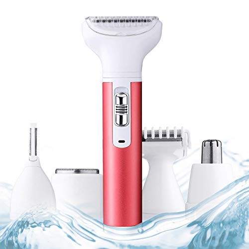 Elektrorasierer für Damen, USB Wiederaufladbar Elektrischer Rasierer Damen, 5 in 1 Multifunktion Epilierer Rasierer Damen, Elektrisch Elektrorasierer Trimmer für Beinen, Körper und Gesicht.