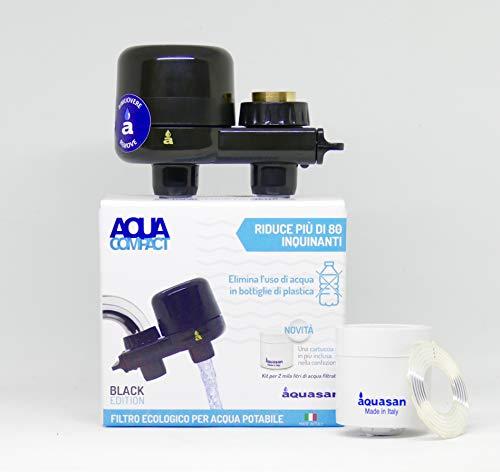 AQUASAN Aquacompact Black Edition - Filtro Rubinetto Anticalcare con 2 Cartucce - Depuratore Acqua Potabile del Rubinetto, Riduce Microplastiche Rimuove Gusto e Odore Cattivi Brevetto Antibatterico