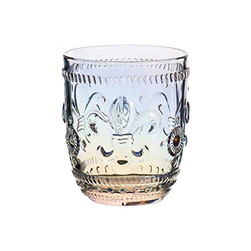 Yi-xir classic design Vintage Drink Ware Crystal Glass Cup Raised Flower Glass Cup For Water Drink Comfortable experience (Color : Multi color, Size : 320ml)