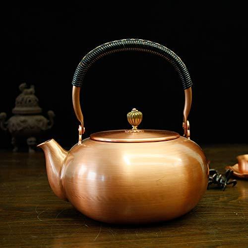 Tetera de cobre tetera de cobre tetera cobre puro cobre olla gran capacidad engrosamiento tetera tetera té hecha a mano salud conjunto de té sin recubrimiento té hervido 1.8L, olla de cobre de calabaz