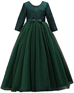 BestGift Kids Girls Wedding Flower Girl Dress elegant Princess Party Pageant Formal Dress Sleeveless Lace Tulle long Dress...