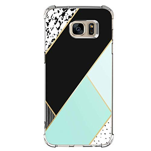 Carcasa Compatible with Samsung Galaxy S7 Edge Funda,Ultra Delgada Silicona TPU Caso Mármol Geometric Patterns Flexible Cubierta Suave a Prueba de choques Case Cover para Teléfono Galaxy S7 Edge