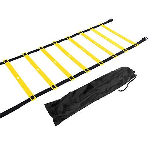 VGEBY1 Escalera de la Agilidad, Escalera de Velocidad Ajustable para el Entrenamiento de Velocidad de los pies de la Aptitud del fútbol del fútbol con el Bolso del Almacenamiento (4M 8 peldaño)