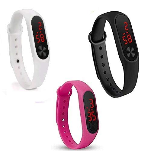 Shine Enterprise Digital Men's & Women's Watch (Black & Red Dial Multicolour Strap) (Pack of 3)