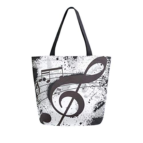 ALAZA Gunge Black Music Notes Canvas Tote Bag Top Handle Purses Large Totes Reusable Handbags Cotton Shoulder Bags for Women Travel Work Shopping Grocery