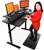 "Stand Steady Tranzendesk 55 in Standing Desk with Clamp On Shelf | Easy Crank Height Adjustable Stand Up Workstation w/Attachable Monitor Riser | Holds 3 Monitors & Adds Extra Desk Space! (55""/Black)"