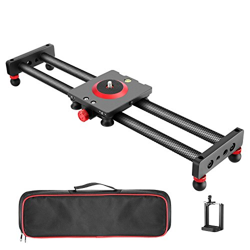Neewer Camera Slider Carbon Fiber Dolly Rail, 19.7 inches/50 Centimeters with 4 Bearings for Smartphone Nikon Canon Sony Camera 12lbs Loading
