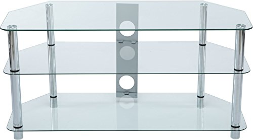 Stealth Mounts 1000mm Clear Glass and Silver Legs TV Stand For 3D/LED/LCD/Plasma TVs Up To 50 inch