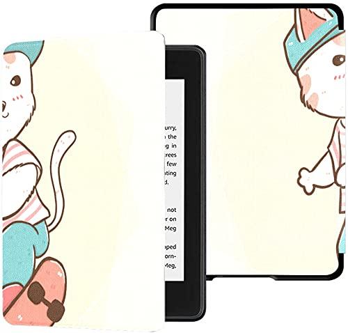 Funda para el Nuevo Kindle Paperwhite Funda de Tela Resistente al Agua (décima generación, versión 2018), Bonita Funda para Tableta con Patines Planos para niños y Gatos