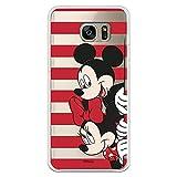 Funda para Samsung Galaxy S7 Edge Oficial de Clásicos Disney Mickey y Minnie Asomados Rayas para Proteger tu móvil. Carcasa para Samsung con Licencia Oficial de Disney.