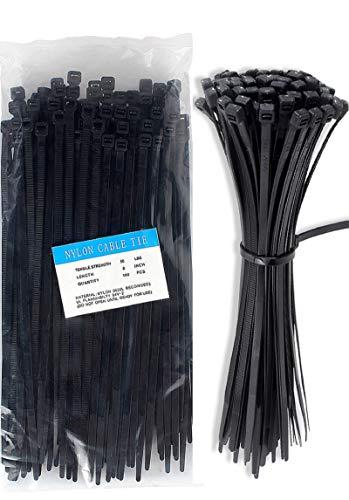 Cable Zip Ties Nylon Self Locking Heavy Duty Wire Ties 8 inch 100 Pieces Black