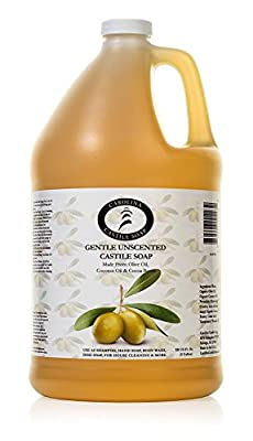 Castile Soap Liquid Unscented - 1 Gallon Vegan & Pure Organic Soap - Carolina Castile Soap - Concentrated Non Drying All Natural Formula Good for Sensitive Skin