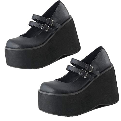 CELNEPHO Mary Jane Zapatos para mujer, correa al tobillo, tacón alto, plataforma de cuña gótica Lolita, zapatos de vestir, (N-actualizado Negro), 35.5 EU