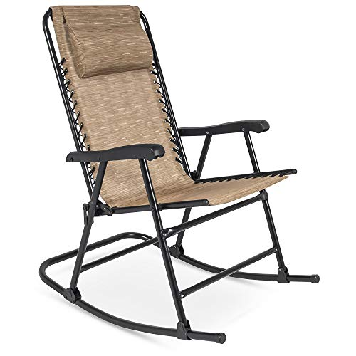 Best Choice Products Foldable Zero Gravity Rocking Mesh Patio Recliner Chair w/Headrest Pillow, Beige