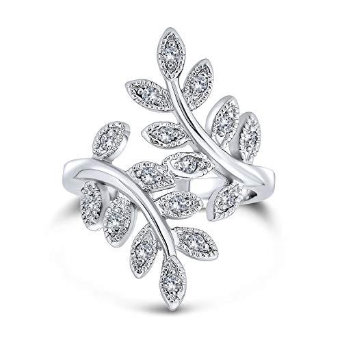 Bling Jewelry Natura Ivy Foglia di Vite Moda Anello per Donne Cubic Zirconia Pave CZ Bypassare in Ottone Placcato in Argento