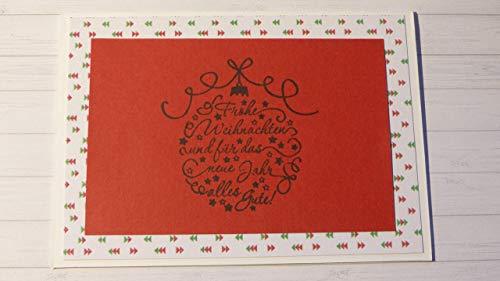 Handmade Weihnachtskarte, Frohe Weihnachten und für das neue Jahr alles Gute