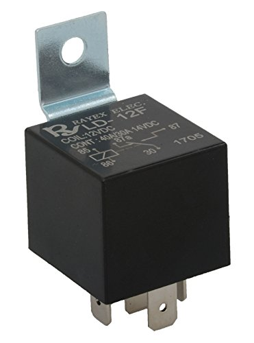 Rayex LD-12F-R Plastic Enclosed-Style Relay, Spdt, 12V, 40A, 87 Ohms Coil, 5 Pin, 1.10' Width, 1.10' Length (Pack of 2)