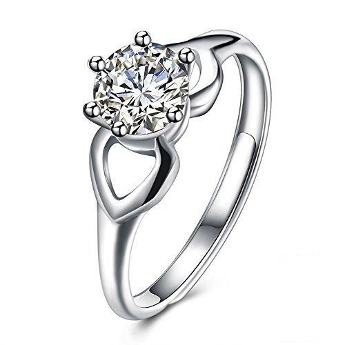 Rotondo in argento Sterling 925con zirconia cubica, taglio brillante rotondo 3mm anello solitario