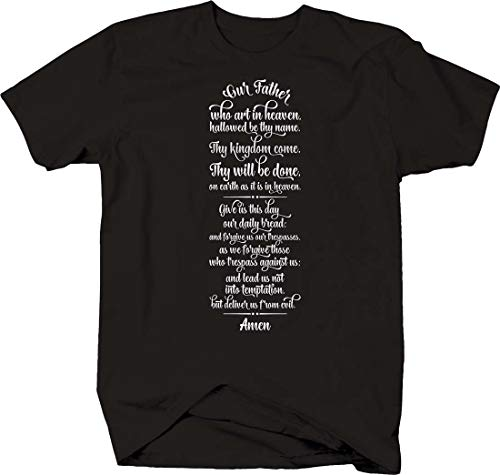 The Lord's Prayer Our Father Cursive Faith Religious god Jesus T Shirt for Men 6XL Black