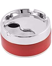 SATMPD Plastic Base Stainless Steel Tabletop Decorative Closed Lid Printing Unbreakable Ashtray (Multicolor)