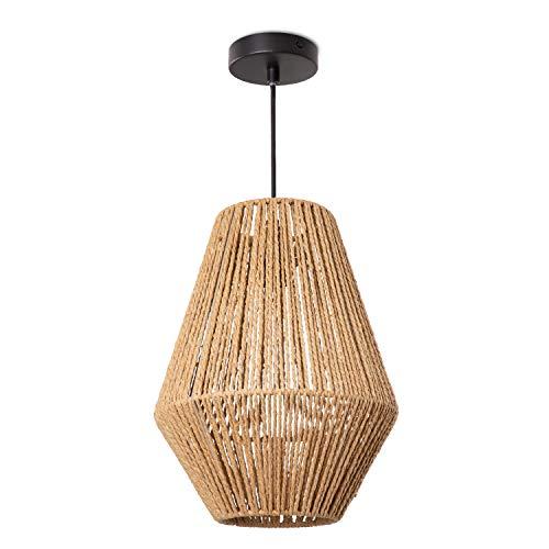 Paco Home Hängelampe LED Pendellampe E27, Rattan Optik Boho Korb Wohnzimmer Esszimmer Flur, Lampenschirm:Natur (Ø30 cm), Lampentyp:Pendelleuchte Schwarz + Leuchtmittel