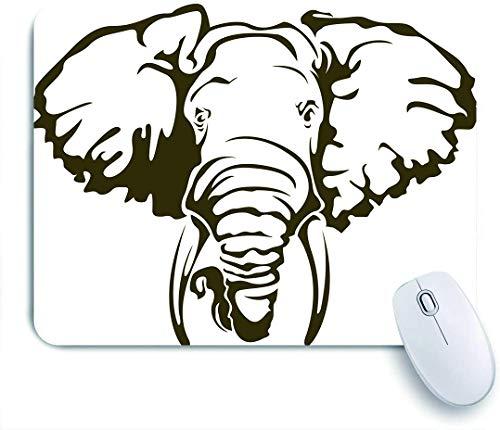 Marutuki Tappetino per Mouse da Gioco Base in Gomma Antiscivolo,Grande Elefante Africano Tatuaggio Dumbo Orecchie zanne,per Scrivania da Ufficio Computer Portatile,240 x 200 mm