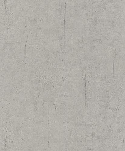 Rasch Tapeten 475302 Grau mit Beton-Optik-10,40m x 0,53m (LxB) Vlies Tapete Rasch Kollektion Factory III, 10,40 x 0,53