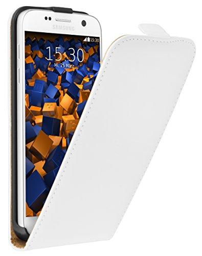 mumbi Echt Leder Flip Case kompatibel mit Samsung Galaxy S7 Hülle Leder Tasche Case Wallet, weiss
