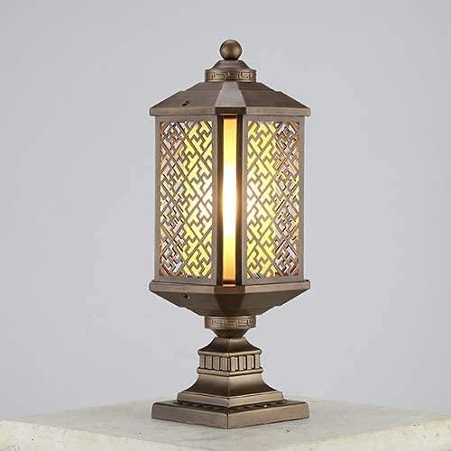 Tokujn Lámpara de pilar retro, lámpara al aire libre, lámpara de mesa de pilares de puerta decorativa, lámpara de césped de cubierta de parque, lámpara de cabeza de cristal de cristal a prueba