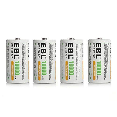 EBL 4PCS Piles Rechargeables D/LR20 10000mAh 1,2V, Lot de 4 Piles D/ LR20 Rechargeables NI-MH 1200 Cycles de Charge, avec Boîte de Stockage