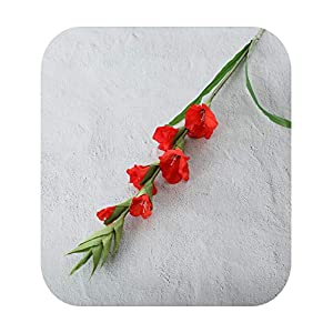 Silk Flower Arrangements Funlife-Shop99Cm 6 Head Artificial Gladiolus Decor Home Garden Wedding Flower Arrangement Gladioli Fake Plants Silk Red White Pink Wholesale-Red