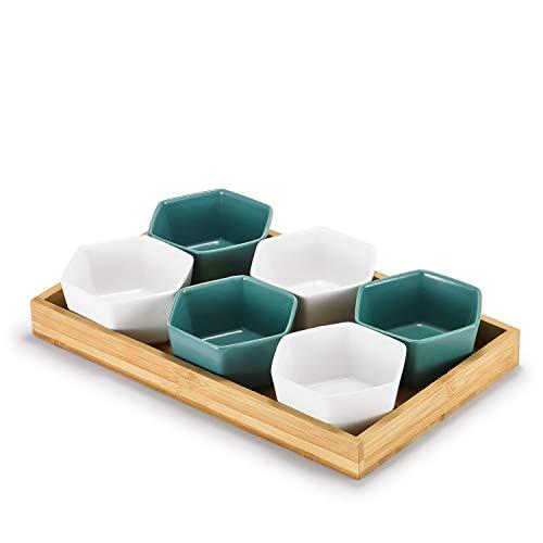 Supremery 6-Teilig Servierschalen Snack Schalen-Set aus Keramik mit Tablett aus Bambus, Dessertschalen eckig, Tappasschälchen Tapas Schüssel Soßenschale Nacho Dipp Dipschale Dippschälchen