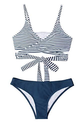 CUPSHE Conjunto de Bikini Mujer Rayas Anudado Cintura Baja Traje de Baño de Dos Piezas, XXL
