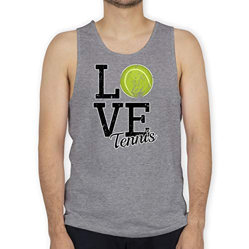 Shirtracer Tennis - Love Tennis - XL - Grau meliert - Statement - BCTM072 - Tanktop Herren und Tank-Top Männer