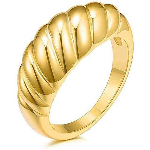 Anillo de cúpula de croissant chapado en oro de 18 quilates trenzado con sello trenzado grueso cúpula anillo apilable anillos de oro