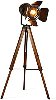 Decoluce Vintage Tripod Floor Lamp,Nautical Teatre Retro Spotlight,Industrial Decor Wooden Light Fixtures,Cinema Movie Props,(Without Edison light bulbs)