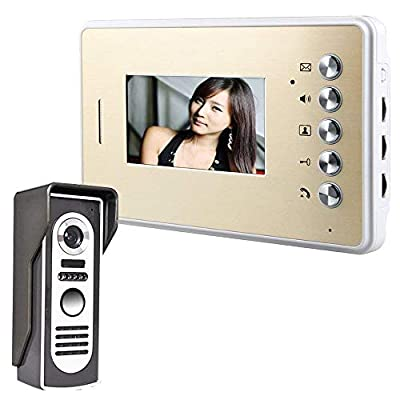 YJF-ZWS Video Door Phone Kit, Video Doorbell Wired Video Intercom System with Night Vision Camera and 3.4 Inch LCD Monitor