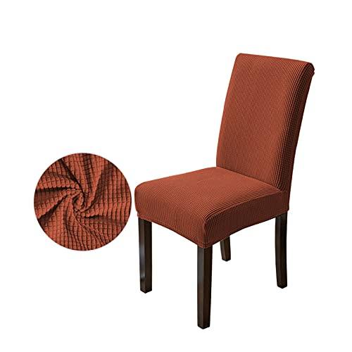 HEWAN 1/4 stuks moderne eetkamerstoelhoezen, armloze kuipstoel, wasbaar, afneembare zachte stretchhoes, meubelbescherming (zonder stoel), oranje-4 stuks